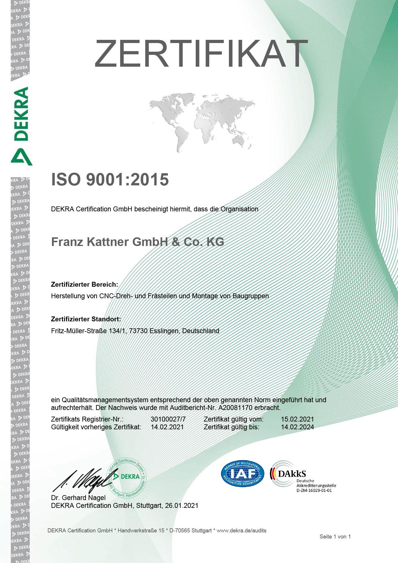 Zertifikat Rezert ISO-9001:2015 de