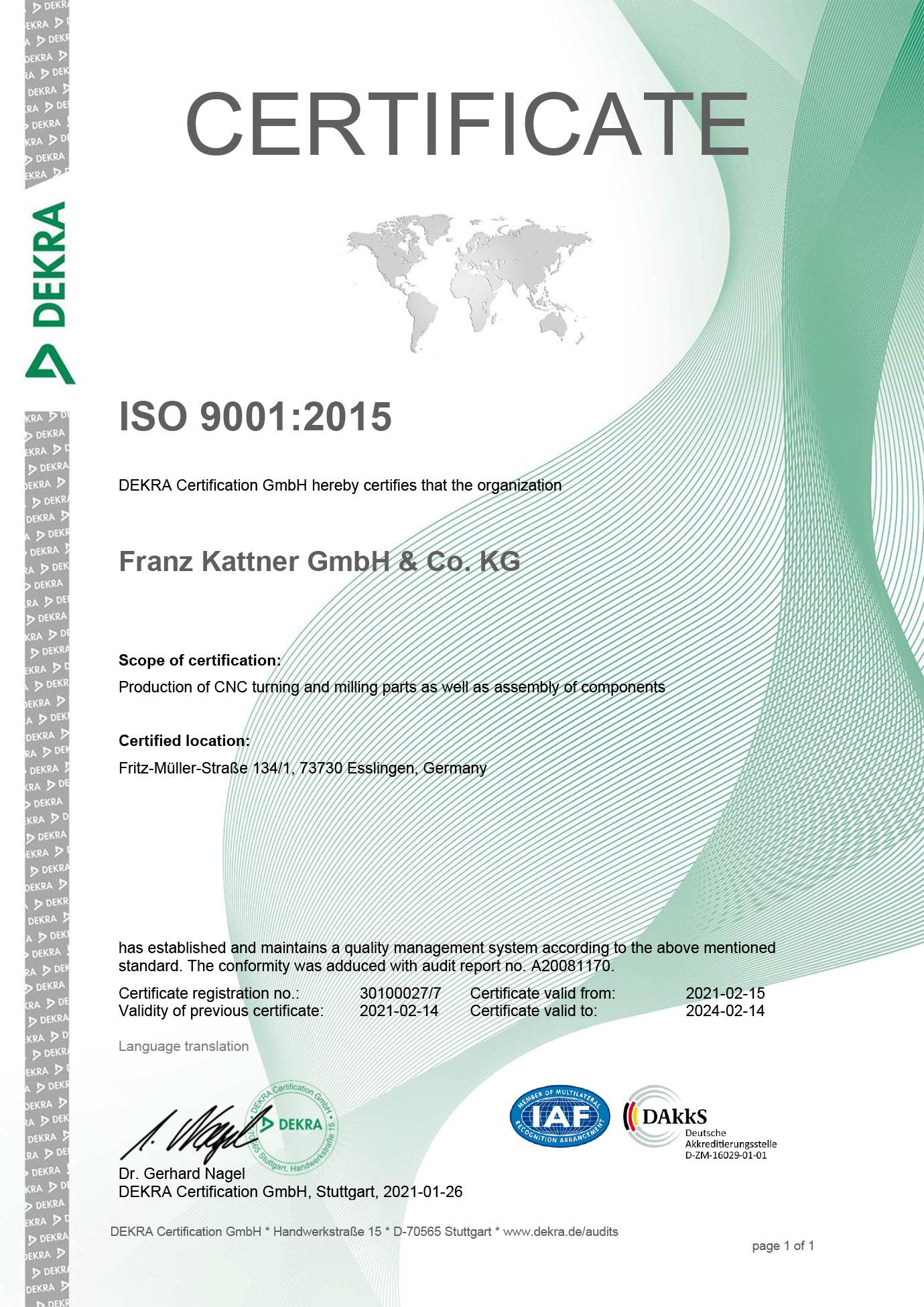 Zertifikat Rezert ISO-9001:2015 en